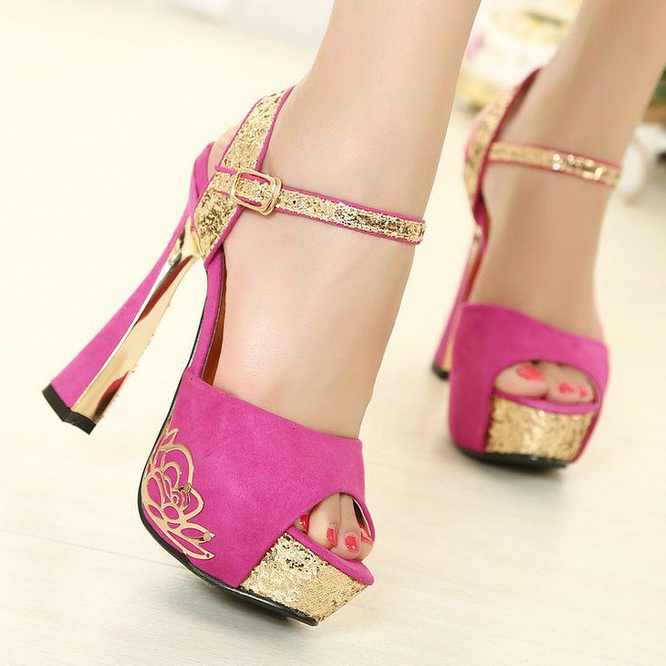 e52458d6d20dbb 2018 summer high heels 14cm fashion platform chunky heels print sandals  shoes for woman lace up