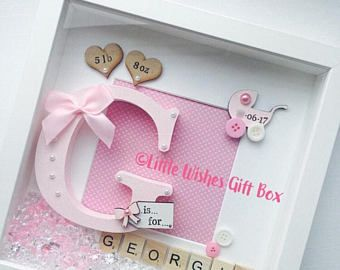 New Baby Girl box frame New Baby, Nursery decor, freestanding or wall hung, personalised. Christening / Naming Ceremony / Birth