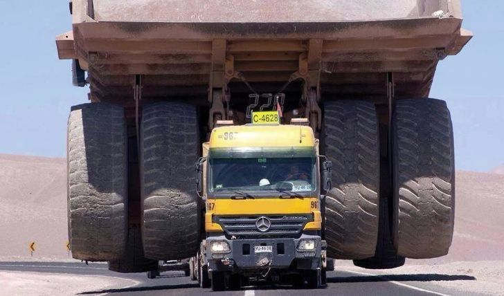 caterpillar 797 carried by a mercedes benz actros fb