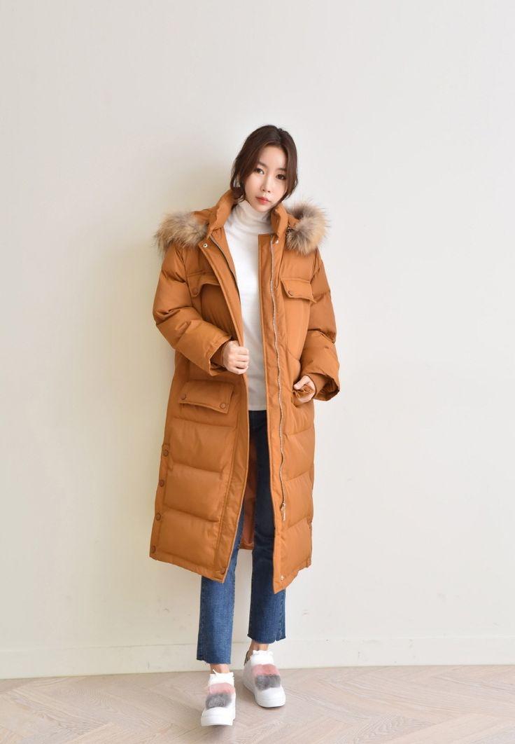 K-Fashion Raccoon Fur Down Jacket G36140 from TOPIXSHOP in orange_2