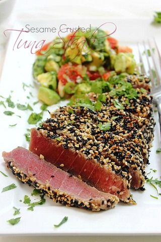 Tuna Sesame Seared Steak with Avocado Salsa! Speedy simple dinner that tastes incredible! #paleo