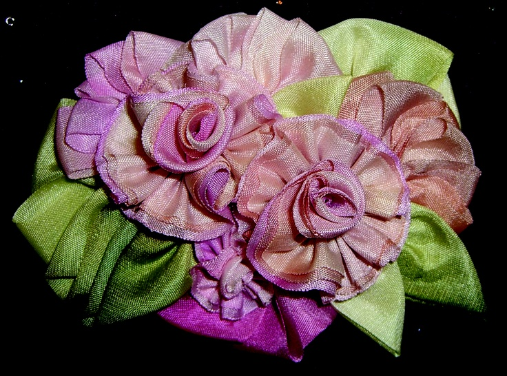 Layered 13mm hand-dyed silk ribbon by Mary Jo Hiney