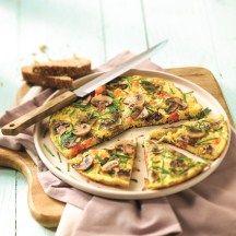 Omelet met tomaat en champignons (maar dan zonder het roggebrood..)