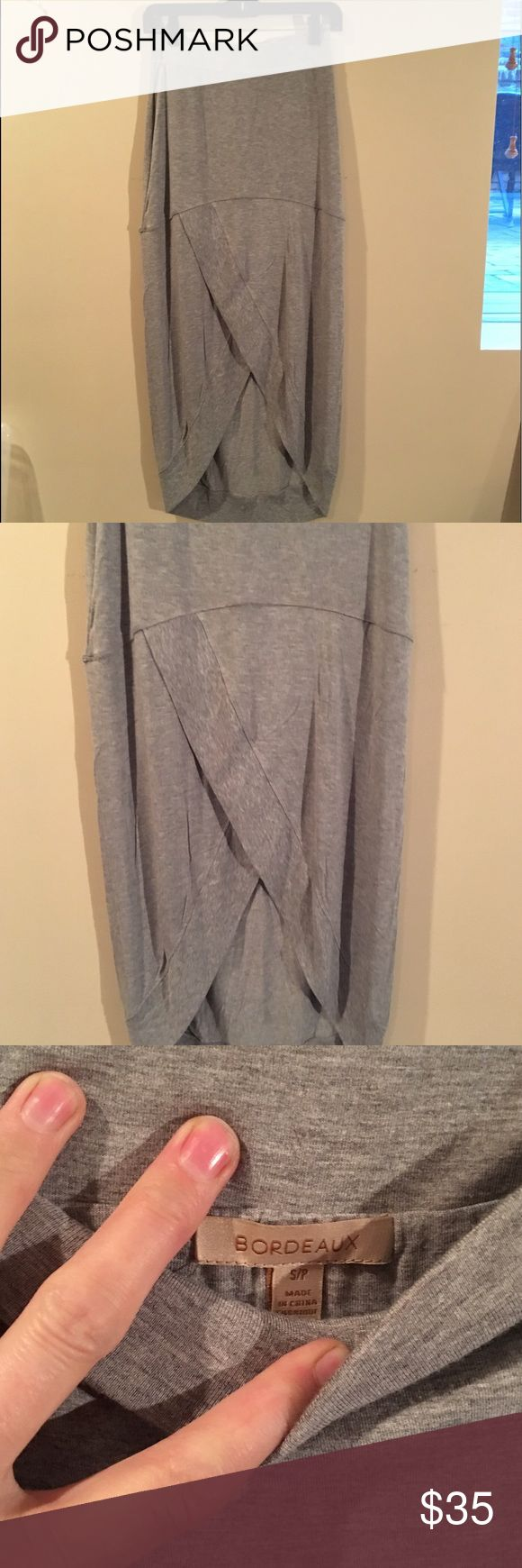 NWOT Bordeaux hi low grey maxi Grey hi low maxi, banded bottom, comfy and casual! Never worn Bordeaux Skirts High Low