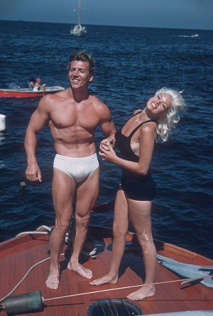 Jane Mansfield and her husband Mickey Hargitay on their, way to Catalina. July 22, 1957