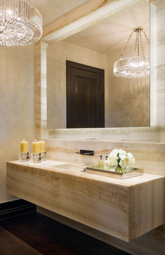 Marble powder room by Charles Cunniffe Architects