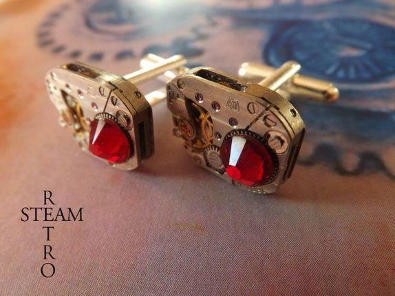 Steampunk Swarovski rød Siam Mansjettknapper