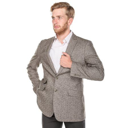 Verno Big Bacchi Men's Light Brown Patterned Classic Fit Italian Styled Wool Blazer, Size: 54 L