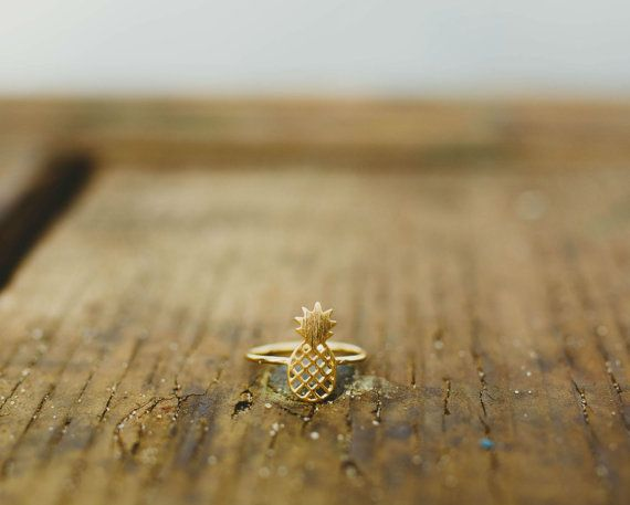 Gold Pineapple Ring, Gold Dainty Ring, Gold Ring, Gold Jewelry, Pineapple Jewelry, Pineapple Ring, Free Shipping | On My Radar: March 2015 http://www.cameraandcarryon.com/radar-march-2015/