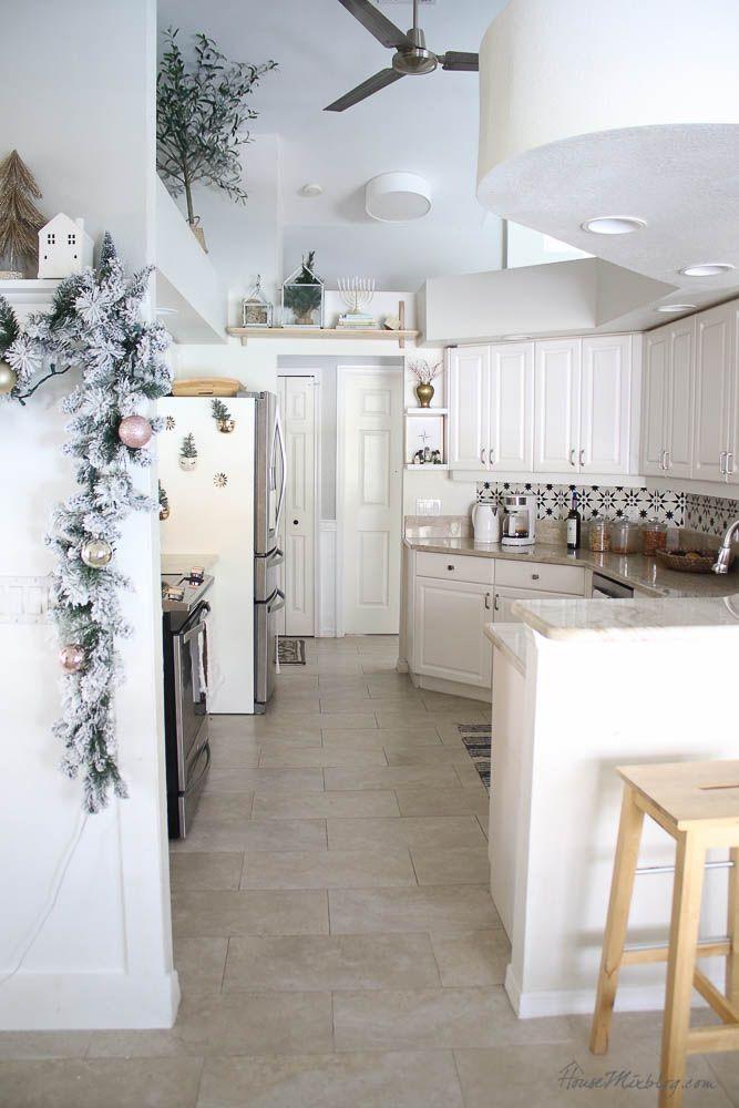 Christmas Decor Home Tour Blush Gold Christmas Kitchen Decor Christmas Kitchen Blush And Gold