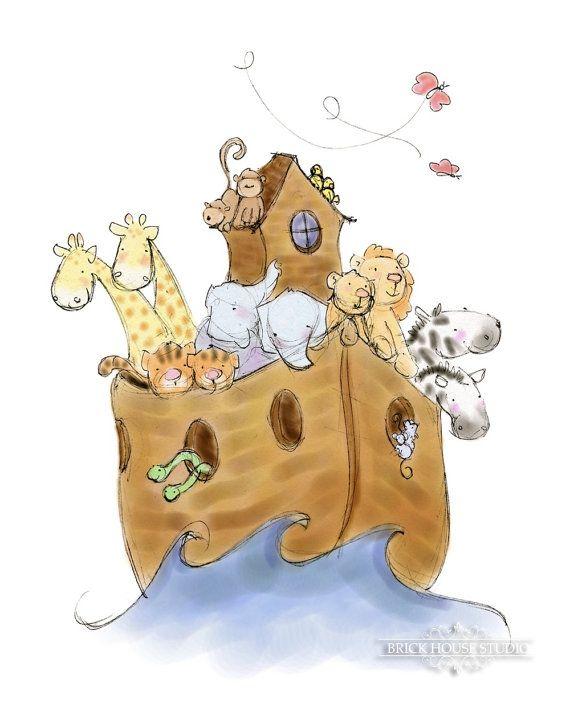 Children's Art  Noah's Ark 5x7 Illustration by BrickHouseStudio