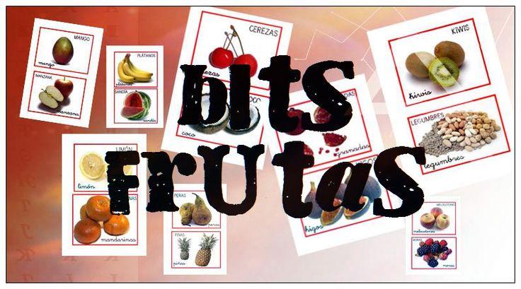 Bits de imágenes o bits de inteligencia de frutas para trabajar el vocabulario en educación infantil. Fichas gratuitas de bits de imágenes
