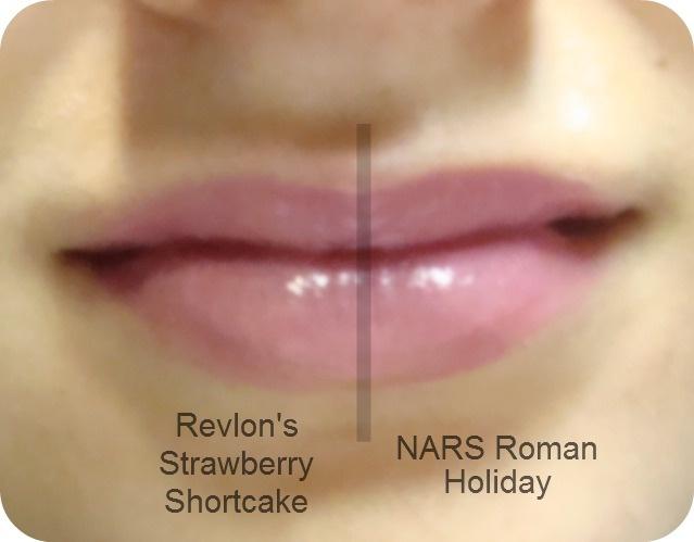 Nars Roman Holiday lipstick duped by Revlon Lip Butter in Strawberry Shortcake