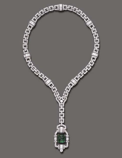 Art Deco emerald and diamond sautoir,  Tiffany & Co., 1925