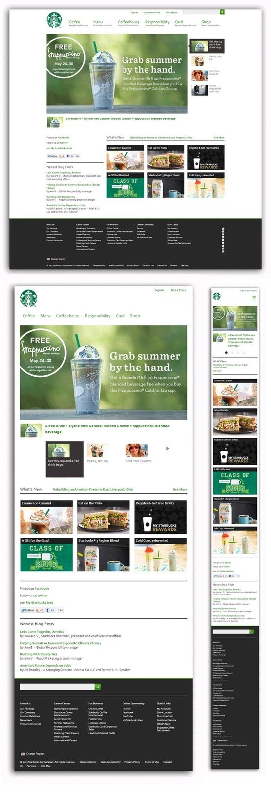 Starbucks.com Diseño: 5  Responsive: 5 Navegación: 5  Contenido: 5  Usabilidad: 5