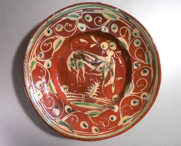 Vintage Mexican Mexico Redware Deer Pattern Pottery Soup Serving Plate Handmade  | Collectibles, Cultures & Ethnicities, Latin American | eBay!