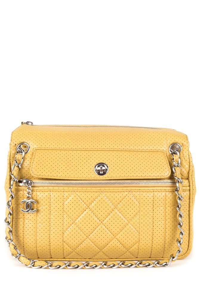 d51acf9fd09a Chanel Yellow Perforated Leather 50'S Tote Bag | BAGS | Bags, Bag ...