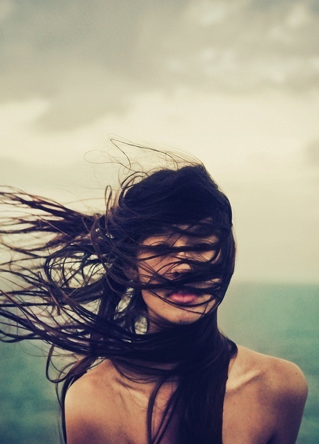 Hair blowing in the wind.  Apt for today I think