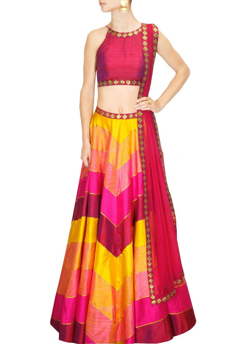 Yellow, hot pink and magenta sequins embroidered lehengas set available only at Pernia's Pop Up Shop.