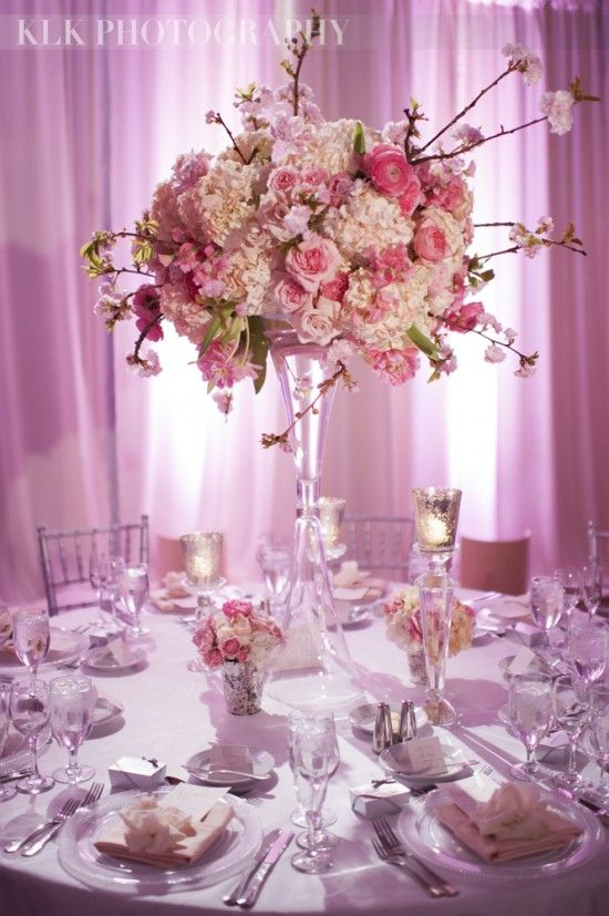 Best centerpieces pink hot light and blush