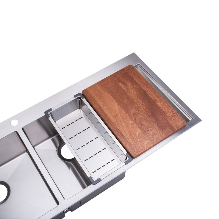 """BAI 1235 - 48"""" Handmade Stainless Steel Kitchen Sink Double Bowl With Drainboard Top Mount 16 Gauge $449.99"""