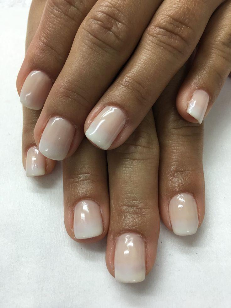 Natural neutral white Ombré gel nails