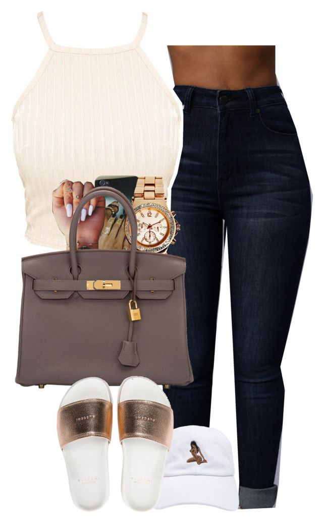 """I just wanna go FLEXX"" by muvaaliyah ❤ liked on Polyvore featuring Boohoo, Hermès and BUSCEMI"
