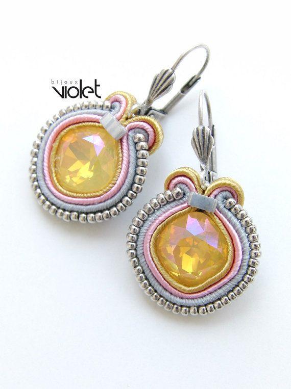 Soutache earrings  Yellow limited por Violetbijoux en Etsy