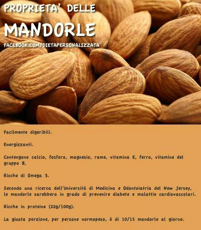 Proprietà delle mandorle. Fonte: www.facebook.com/dietapersonalizzata