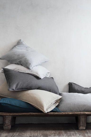 2 stks - Pudebetræk i vasket hør - Lysegrå - Home All | H&M DK 129 kr.