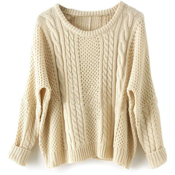 Apricot Batwing Long Sleeve Pullovers Sweater ($20) ❤ liked on Polyvore featuring tops, sweaters, beige, cotton pullovers, beige pullover sweater, long sleeve sweaters, brown tops and batwing sweater