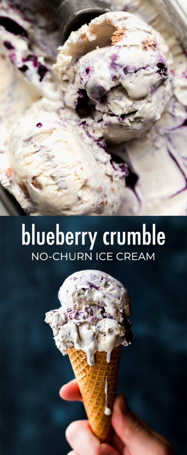 Extra Creamy No Churn Vanilla Ice Cream With Blueberry Swirls And Crumb Cake Topping Pieces Qu Homemade Ice Cream Recipes Ice Cream Recipes Homemade Ice Cream