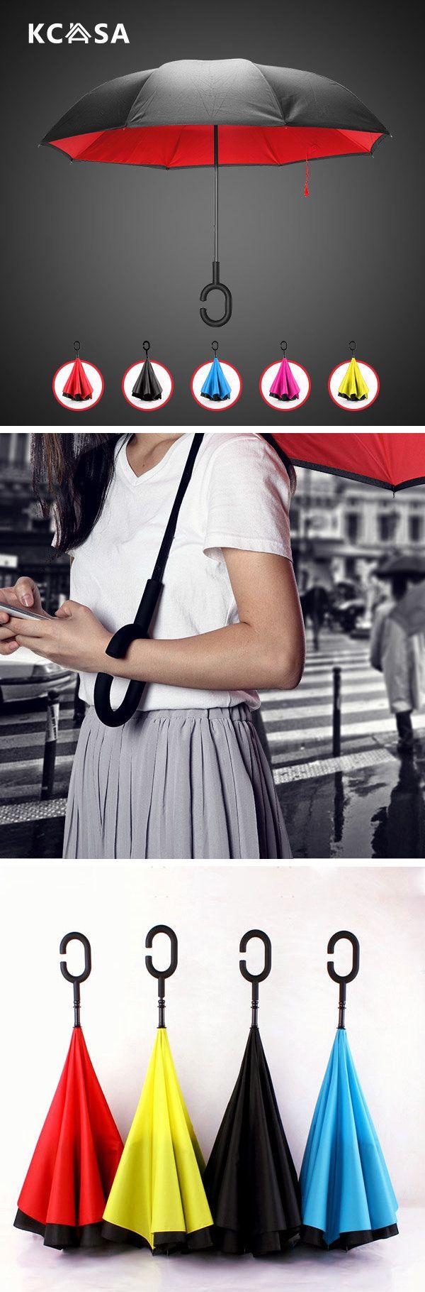 KCASA UB-1 Creative Reverse Double Layer Foldable Umbrella Damp Proof wind Resistant Standing Folding #rain
