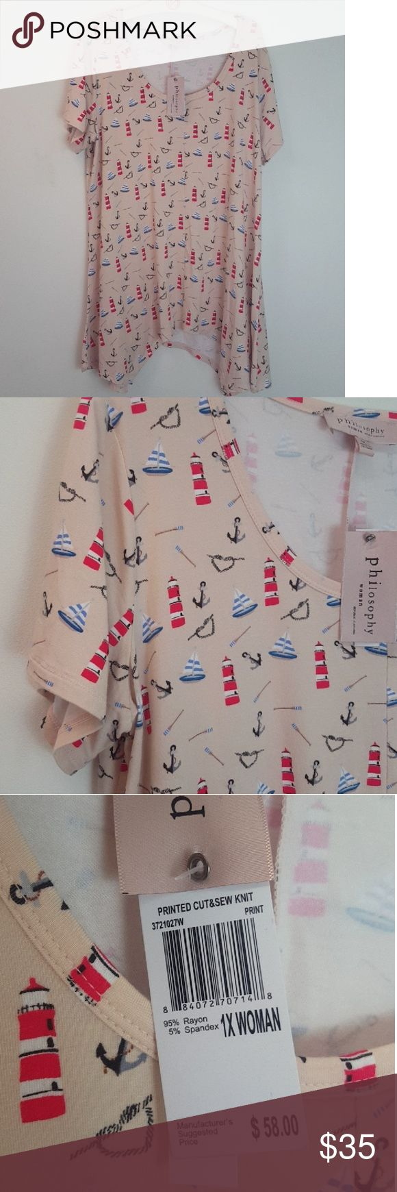 Philosophy Salmon Nautical Boat & Lighthouse Shirt Brand new from Philosophy republic clothing! Light salmon colored with all over nautical theme: anchors, oars, lighthouses, boats. Regular short sleeve with a curved draped bottom hem Size 1x! Super cute to pair with leggings! Philosophy Tops Tees - Short Sleeve