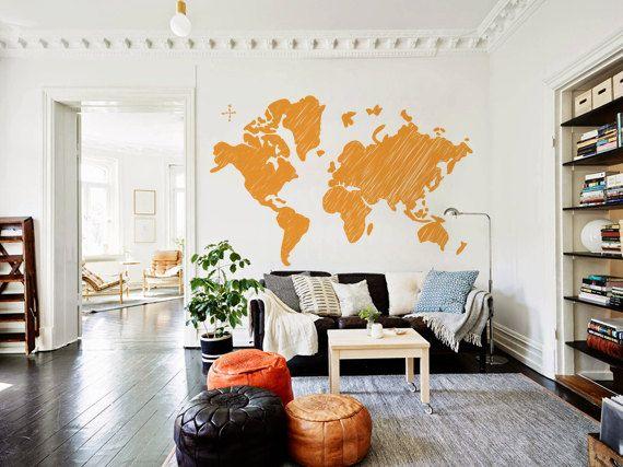 Grande scarabocchiato mondo mappa decalcomania per casa, dormitorio, ufficio, salotto, vivaio o camera da letto