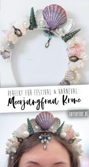 Meerjungfrau Krone perfekt fürs Festival oder Karneval. #karneval #festival #fasching #kostüm #meerjungfrau #krone #mermaid #crown #festivalkostüm #karnevalkostüm #diykostüm #diy