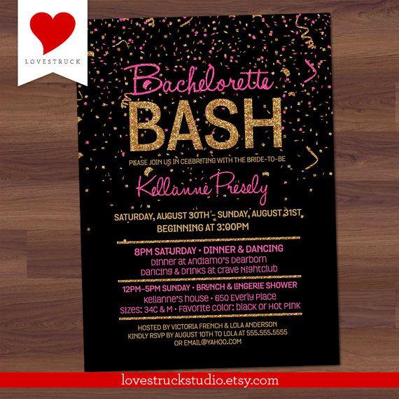 Glitter Bachelorette Party Invitation / Hen's Party by LoveStruckStudio