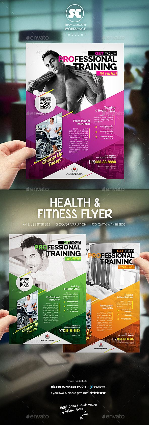 Fitness / Gym Flyer Template PSD #design Download: http://graphicriver.net/item/fitness-gym-flyer-template/12823317?ref=ksioks