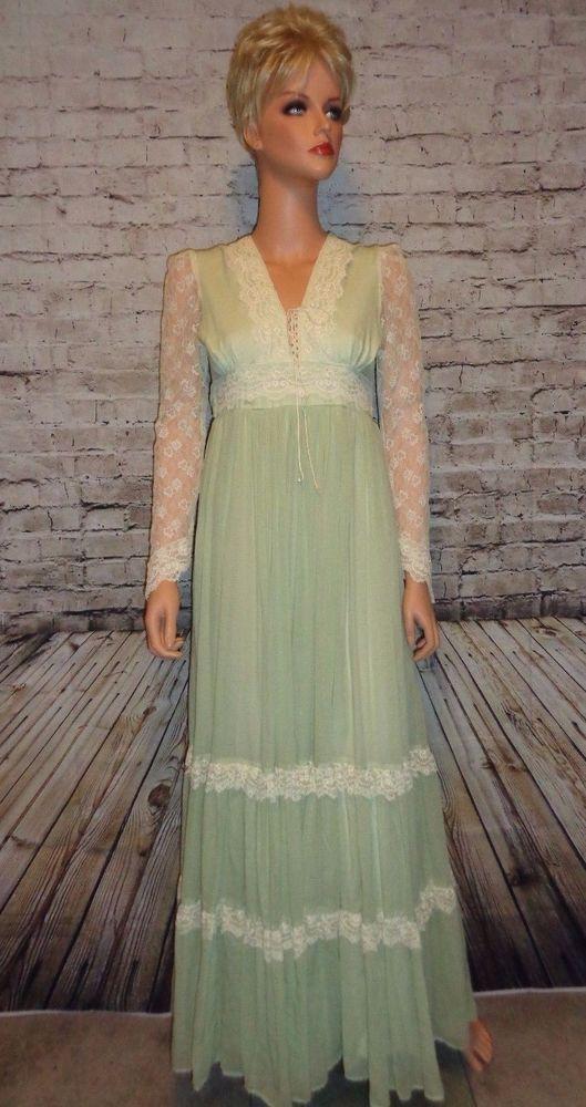 Vintage 70's Gunne Sax Prairie Boho Hippy Maxi Dress Size 7 Light Green Corset  #GunneSax #Maxi #Casual