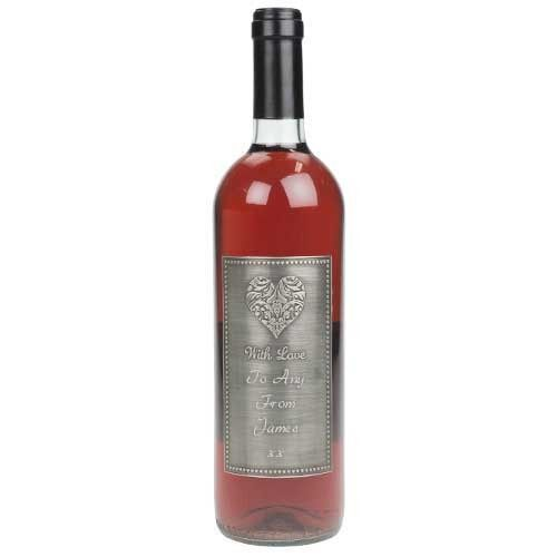 Personalised Californian White Zinfandel Rose With Love Pewter Label  from www.personalisedweddinggifts.co.uk :: ONLY £34.99