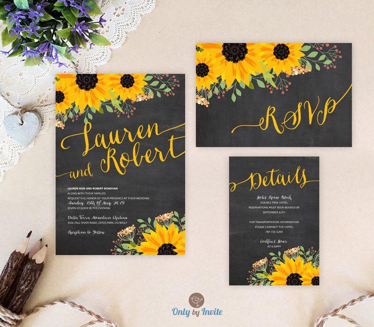 Chalkboard sunflower wedding set: invitation, RSVP postcard, enclosure card | Rustic wedding invitations printed | Cheap wedding bundles by OnlybyInvite on Etsy https://www.etsy.com/listing/265079876/chalkboard-sunflower-wedding-set