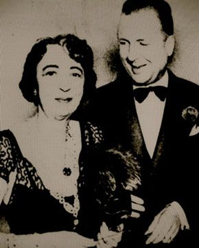 Two of the world's most famous gems, the Hope diamond and Star of East, worn by Evalyn Walsh McLean when she appeared at El Morocco on the arm of Lucius Beebe, writer and bon vivant.