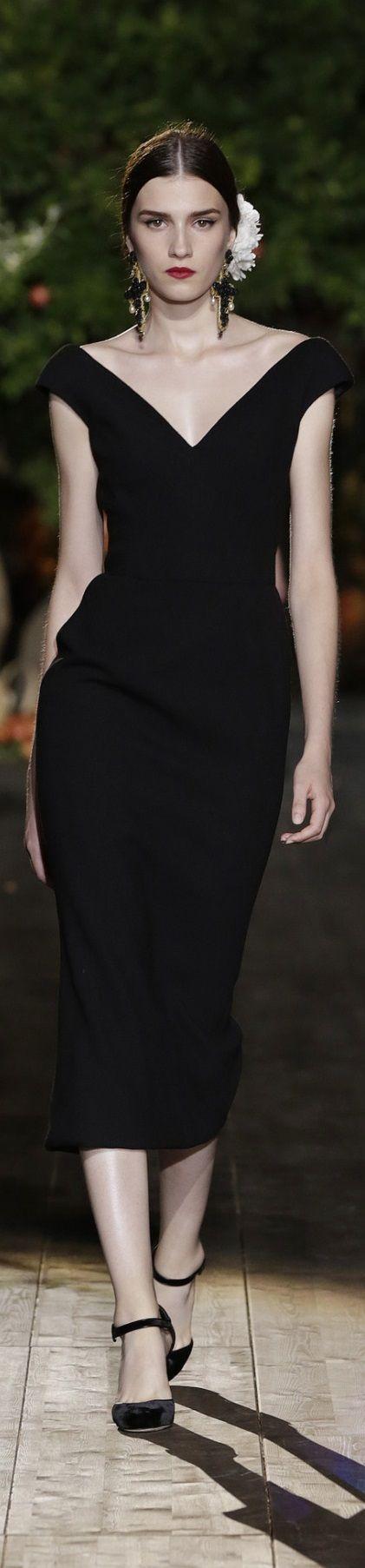 Dolce & Gabbana ~ Couture Black Heart Neckline Midi Dress Fall 2015