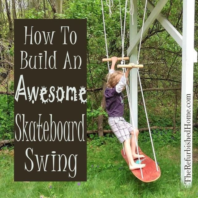 how to make an awesome skateboard swing skateboard swing repurposing and upcycling. Black Bedroom Furniture Sets. Home Design Ideas
