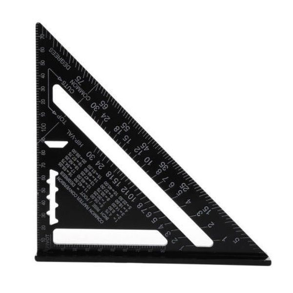 Brand New Metric Aluminum Alloy Triangular Ruler Speed Square Protractor Double Scale Miter Framing Measurement Ruler For Carpenter Woodworking Tools Size Metric System Protractor Triangle Angles Ruler