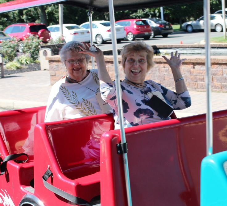 """Sue and Marge riding taking a ride on the """"Boardwalk"""" during their Monolopy themed day at Toms River! They even went to """"Jail!"""""""