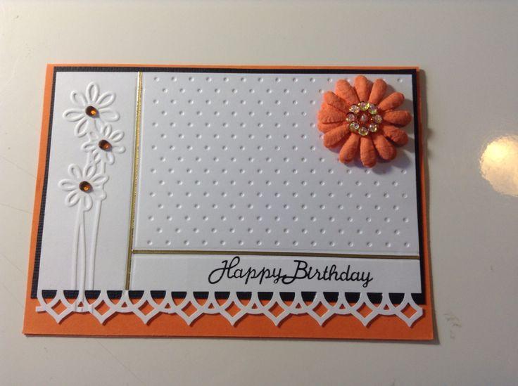 Floral birthday card using embossing folders