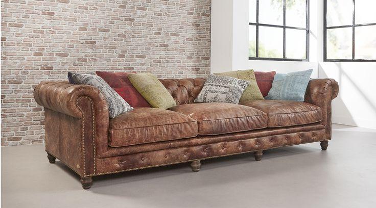 Eigentijdse lounge bank June gemaakt van rundleder. Bekijk fauteuils, club en tubs op onze website - Delta Chesterfield