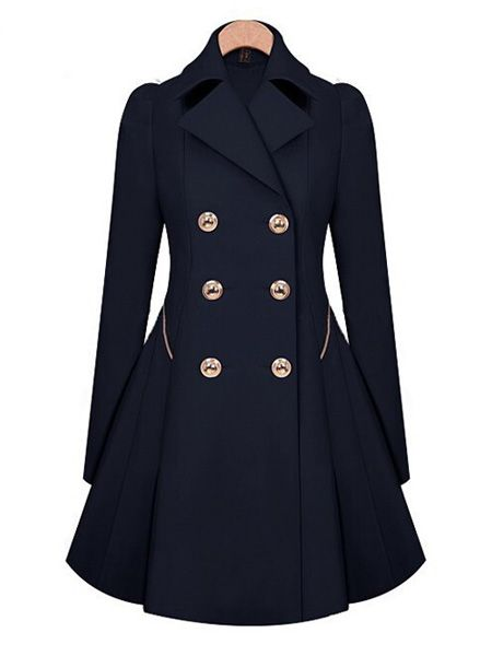 Women Slim Double Breasted Long Sleeve Trench Coat