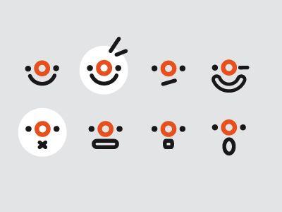 Emotions – minimalist clown character.